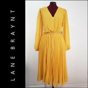 Lane Bryant Women Pleated Dress Size 14 Yellow